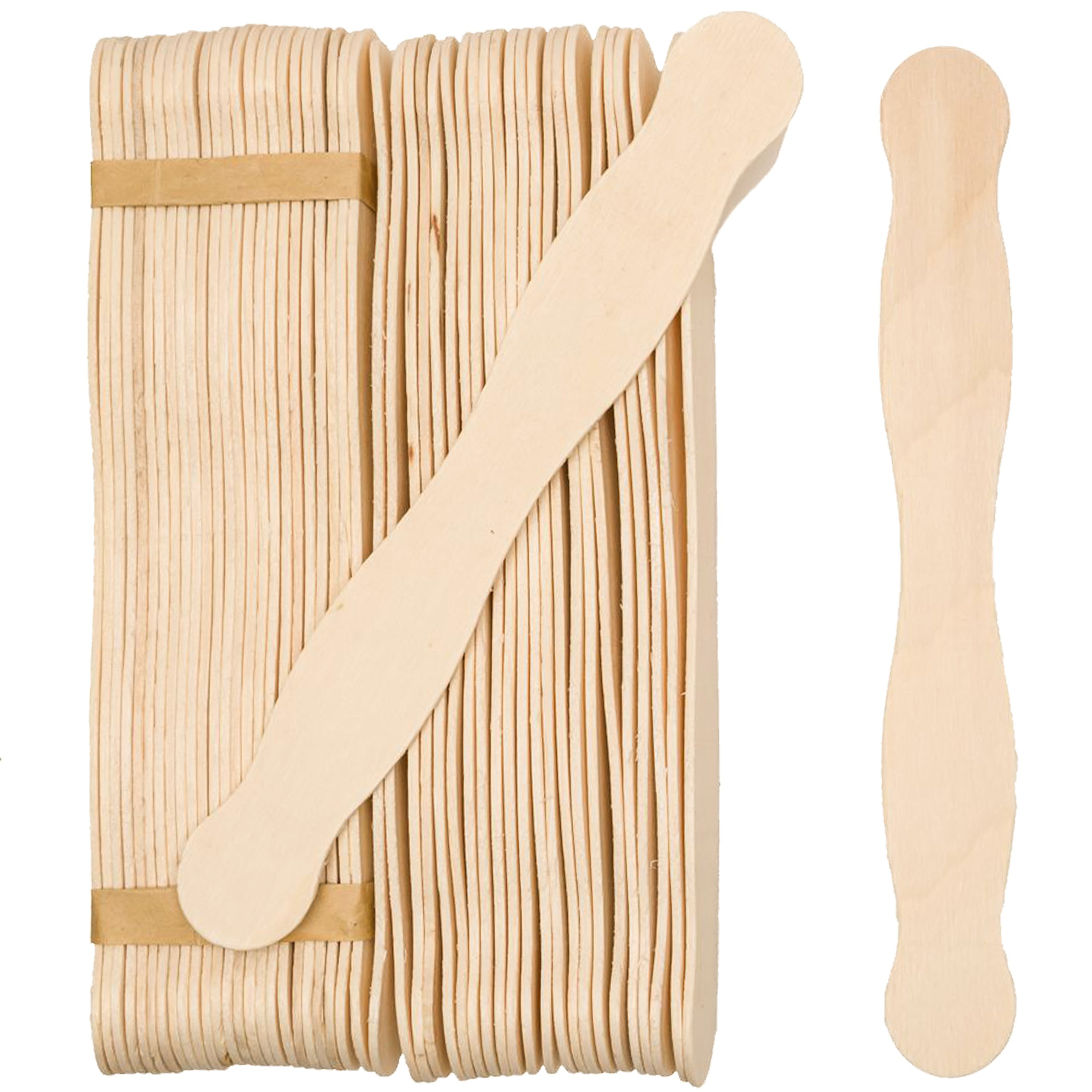 200 Natural Wavy Jumbo Wood Fan Handles Wedding Fan Craft Sticks - 8'' Wavy Craft sticks - By Woodpeckers