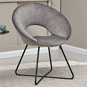 Duhome Modern Velvet Accent Chairs Upholstered Vanity Chairs Make-up Stool Home Office Guest Reception Chair Arm Leisure Chairs Dining Chair with Black Legs Mid-Back for Living Room 1 pcs Grey