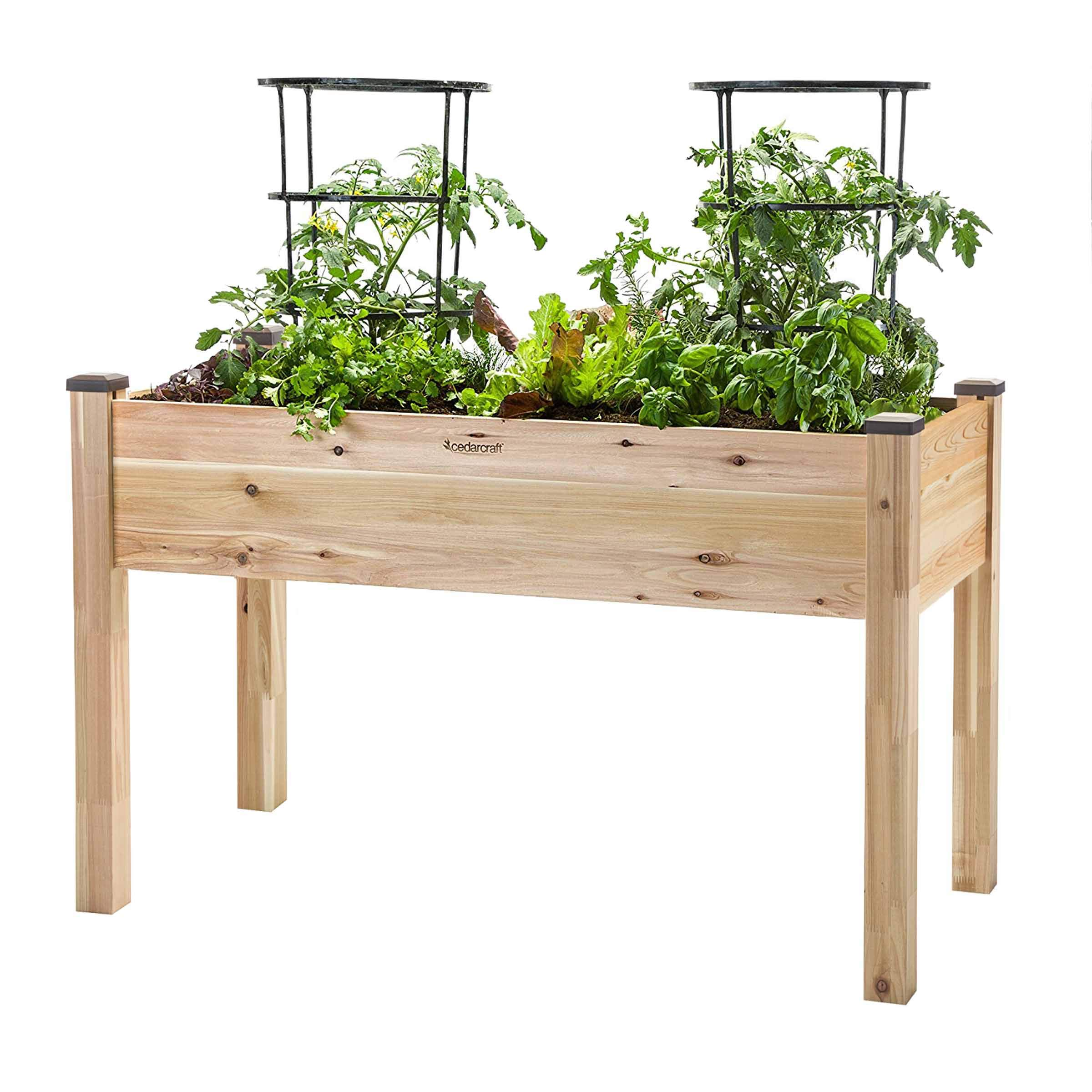 "CedarCraft Elevated Cedar Planter (22"" x 48"" x 30'' H) - Grow Fresh Vegetables, Herb Gardens, Flowers & Succulents. Beautiful Raised Garden Bed for a Deck, Patio or Yard Gardening. No Tools Required."