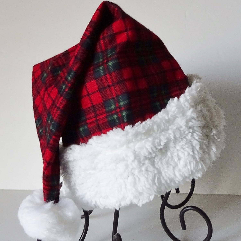 Red and Green Christmas Plaid Santa Hat, Novelty Plaid Flannel Santa Hat, Christmas Hat