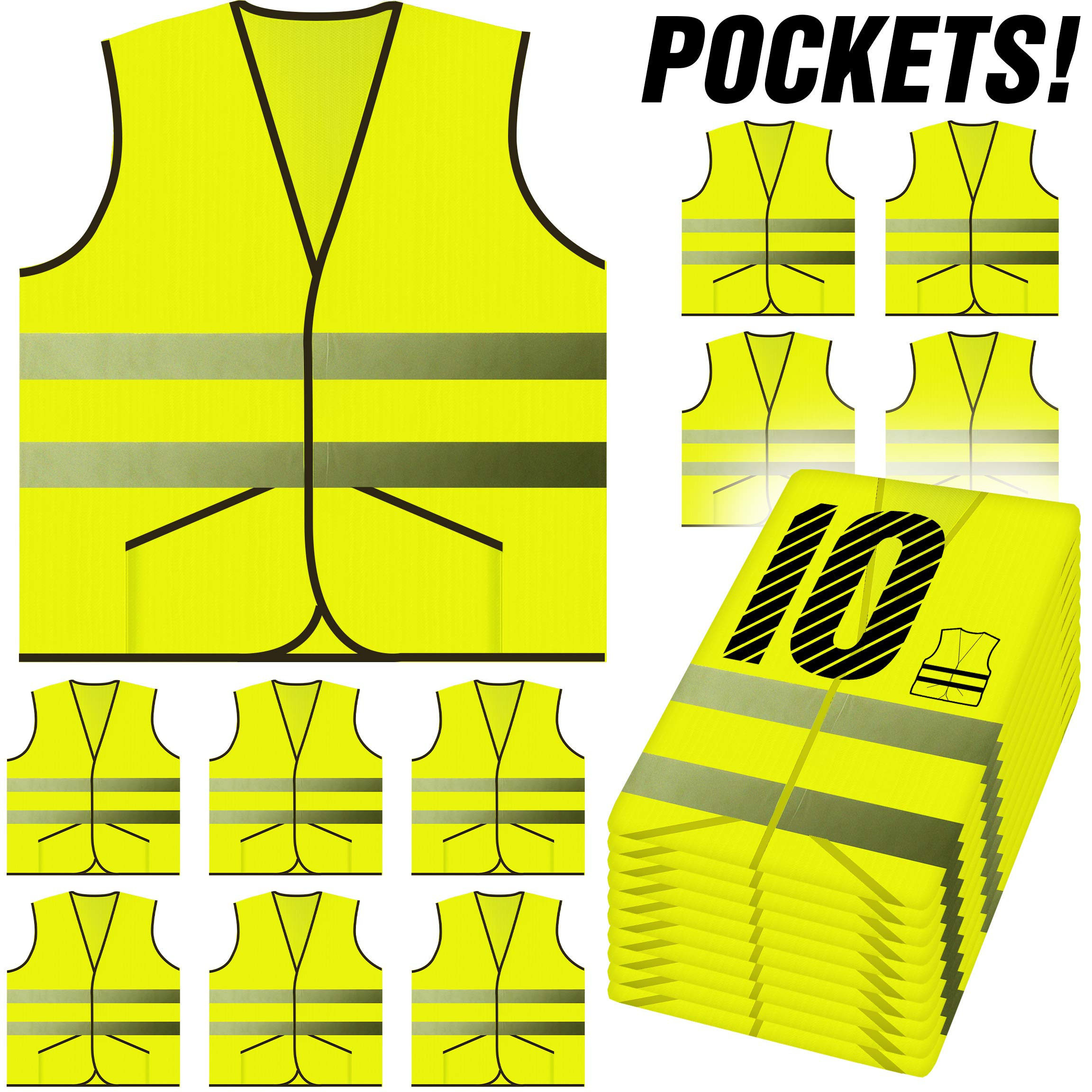 PeerBasics, Pocket Safety Vest 10 Pack, Yellow Reflective High Visibility, Hi Vis Silver Strip, Men & Women, Work, Cycling, Runner, Surveyor, Volunteer, Guard, Road, Construction (10, Neon Yellow) by PeerBasics