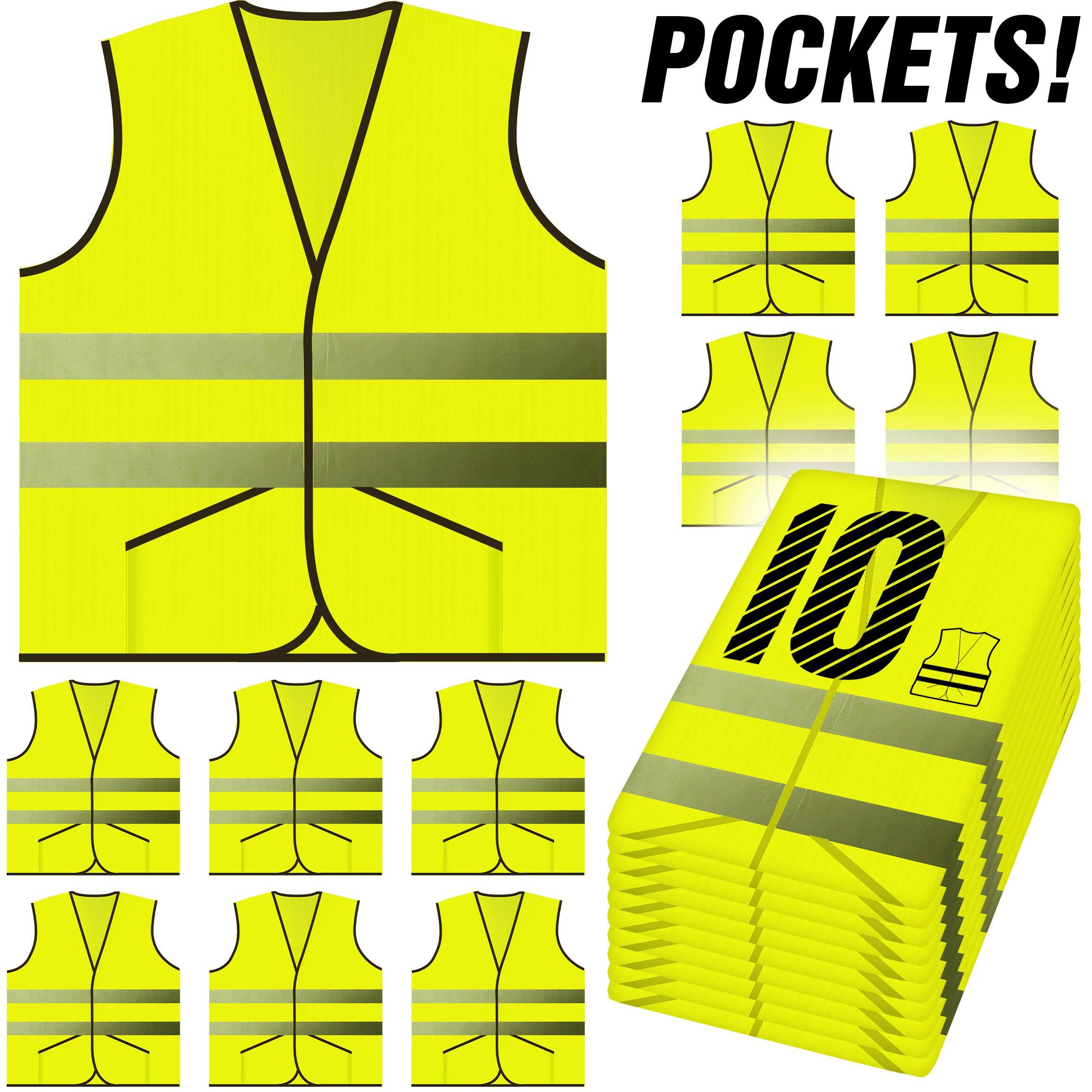 PeerBasics, Pocket Safety Vest 10 Pack, Yellow Reflective High Visibility, Hi Vis Silver Strip, Men Women, Work, Cycling, Runner, Surveyor, Volunteer, Crossing Guard, Road, Construction (Knitted, 10)