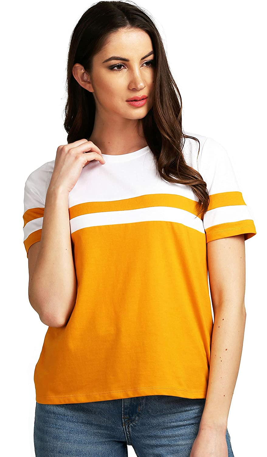 Women's Cotton Round Neck Mustard Half Sleeve Top