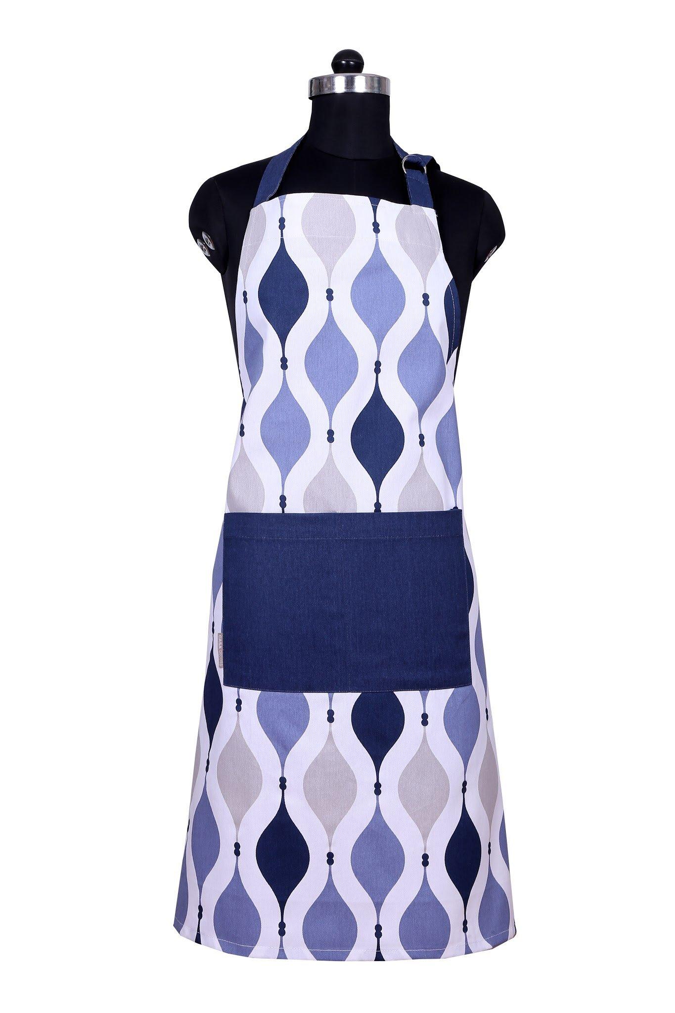 Apron,Geometric Blue Design, Aprons for Women with Pockets,100% Natural Cotton, Adjustable Neck & Waist ties, Machine Washable, Cute Apron by CASA DECORS