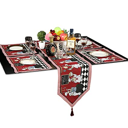 Genial Meiduoduo Decorative Cotton Table Runner And Placemats Cheerful Chef Theme  Tapestry Washable Table Runner Cloth And