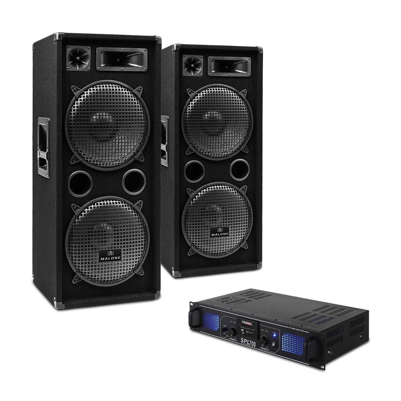 TALLA DJ-20. DJ-20 Equipo de Audio PA Amplificador Altavoces Cables (2000W de Potencia, Completo Set para Eventos DJ)