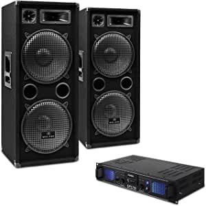 DJ-20 Equipo de Audio PA Amplificador Altavoces Cables (2000W de Potencia, Completo Set para Eventos DJ): Amazon.es: Electrónica