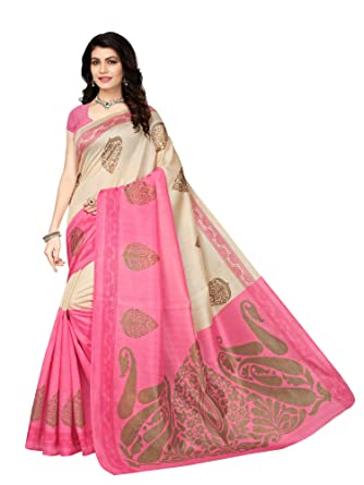 b5608d24 Mrinalika Fashion Art Silk Saree With Blouse Piece (_Pink_Free Size ...