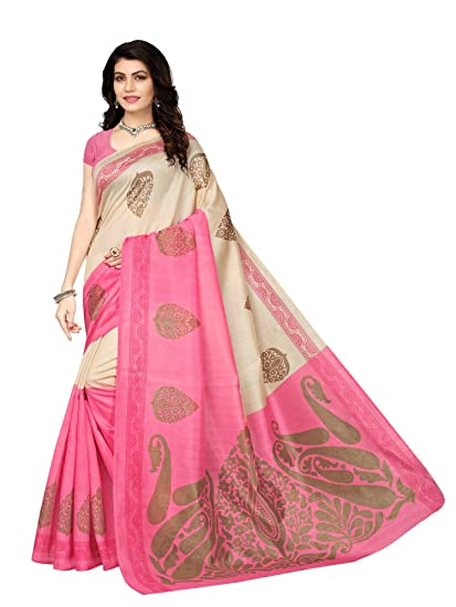 434a24941f3ddd Mrinalika Fashion Art Silk Saree With Blouse Piece ( Pink Free Size)  Amazon .in  Clothing   Accessories