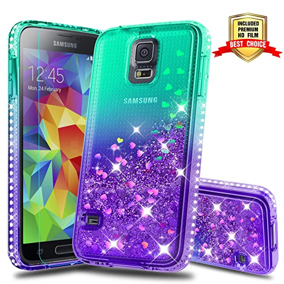 pretty nice da619 6b450 Galaxy S5 Case, Samsung Galaxy S5 Girly Cases with HD Screen Protector,  Atump Fun Glitter Liquid Sparkle Diamond Cute TPU Silicone Protective Phone  ...