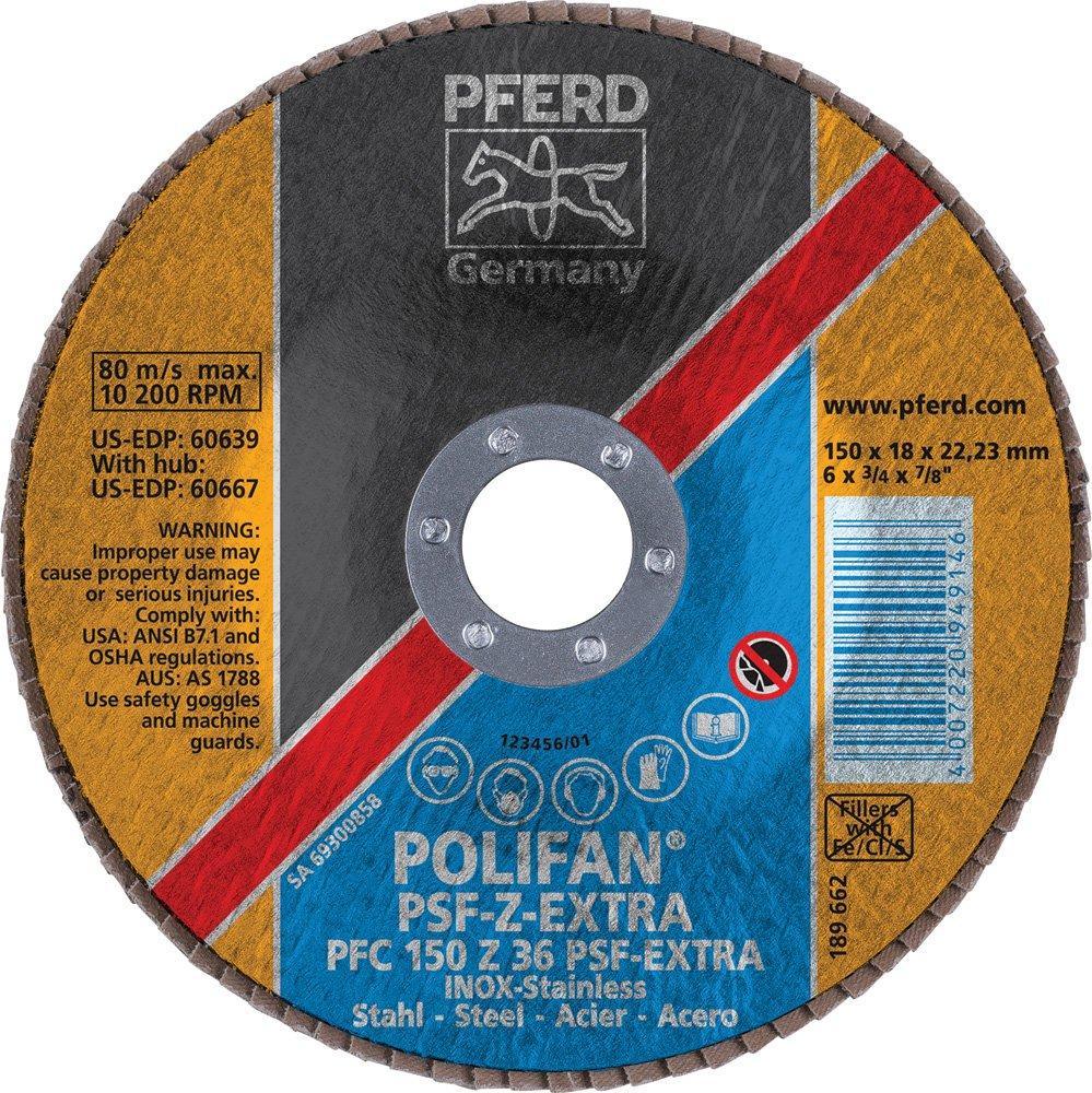 7//8 Arbor Hole Zirconia Alumina 6 Diameter 36 Grit 10200 RPM PFERD 60639 Polifan PSF Z-Extra Type 29 Conical Flap Disc