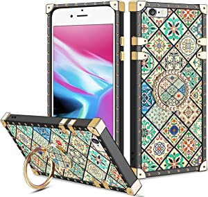 Vofolen for iPhone 6S Plus Case iPhone 6 Plus Case Ring Holder Kickstand Exotic Colorful Square Protective Soft Shell Fold-able Clip Anti-Slip Finger Loop Cover for iPhone 6+ 6S+ 5.5 (Porcelain)