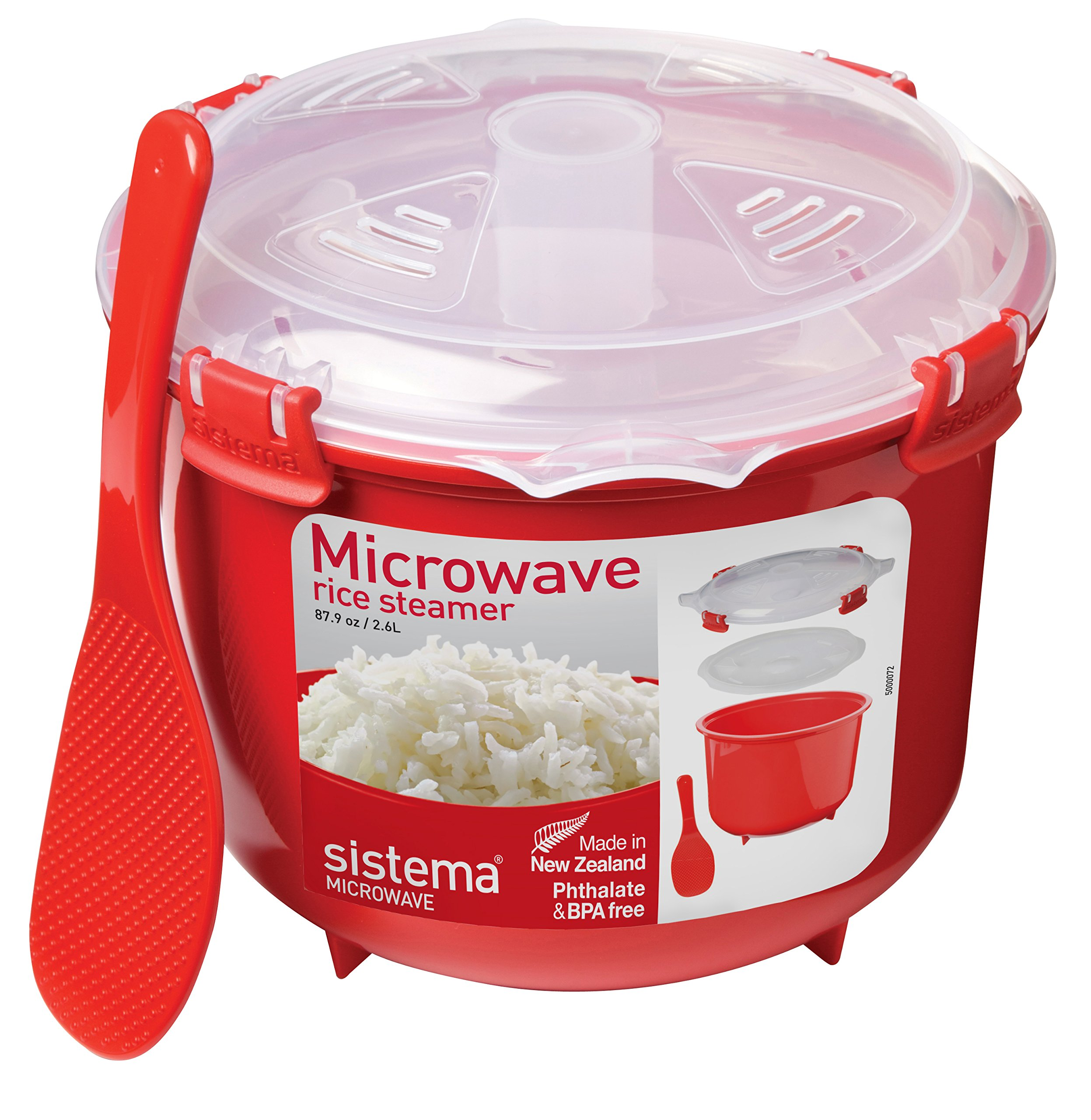 Sistema Microwave Collection Rice Cooker, 87.2 oz./2.6 L, Red by Sistema (Image #2)