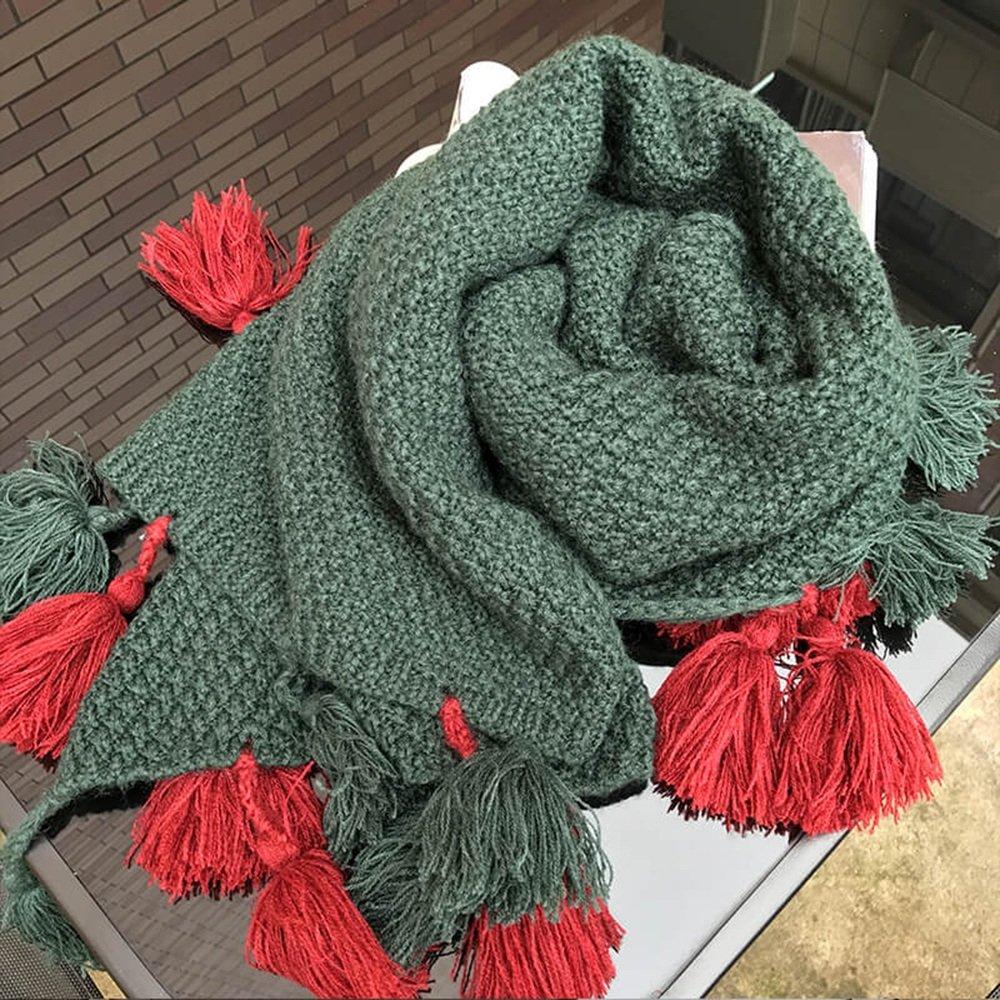 MEIDUO Bufandas y Chales Bufanda de otoño e invierno gruesas borlas de invierno femenino sólido chal...
