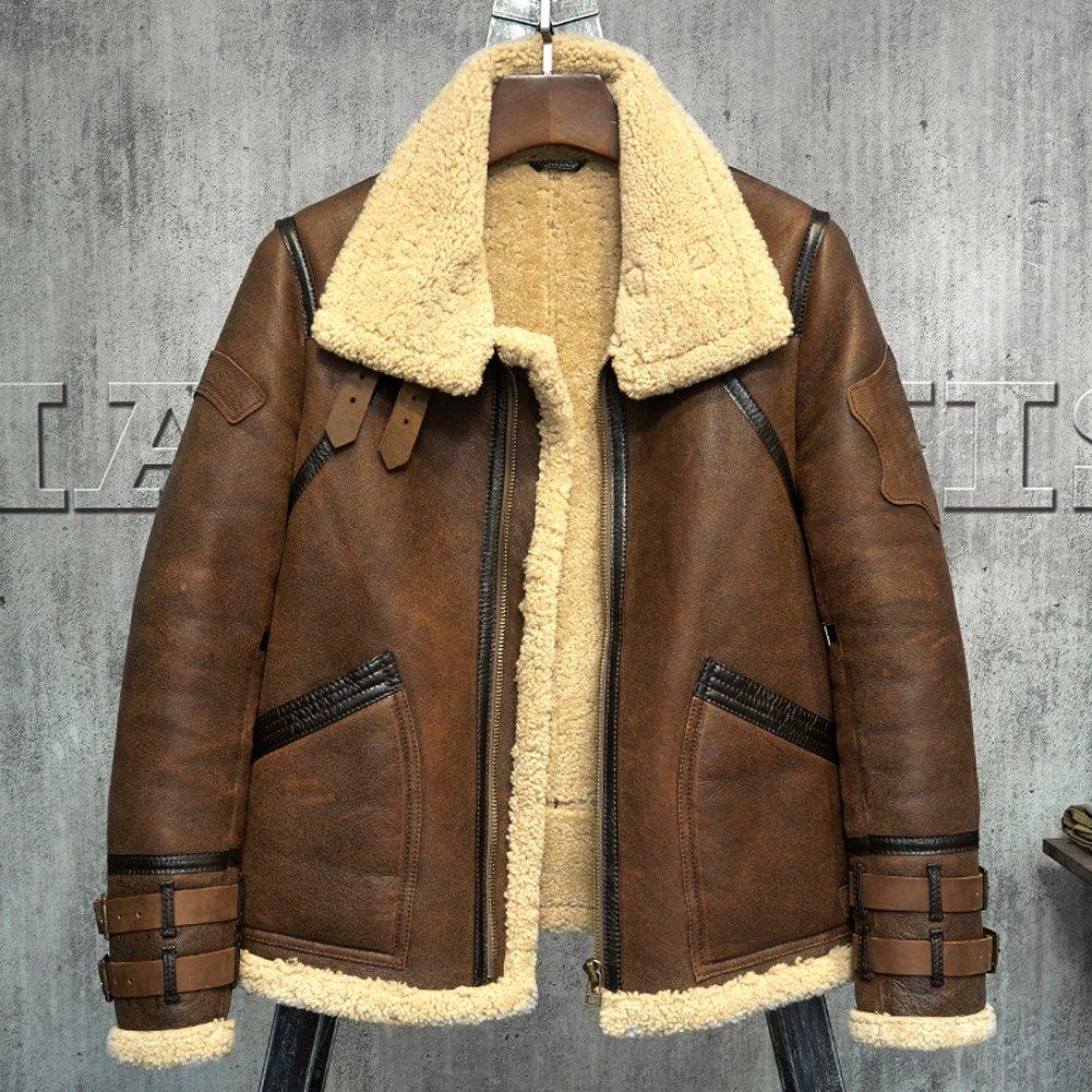 Men's Shearling Jacket B3 Flight Jacket Fur Leather Jacket Imported Wool  from Australia Men's Sheepskin Aviator Coat