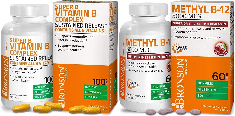 Methyl B12 5000 mcg Vitamin B12 Methylcobalamin Lozenges + Super B Vitamin B Complex Sustained Slow Release