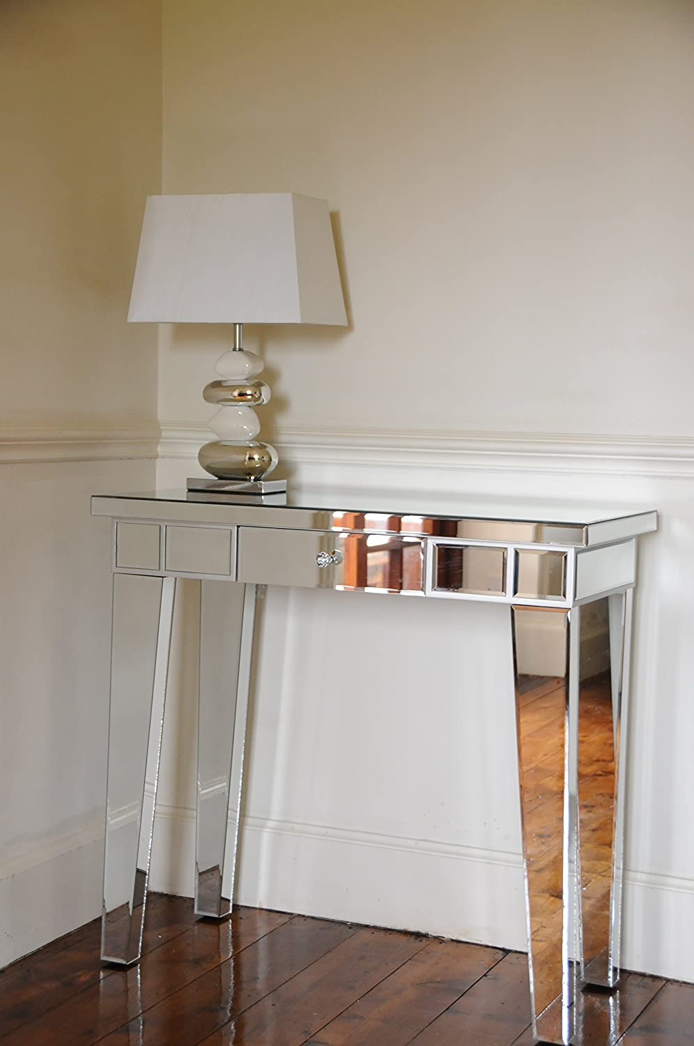 Mirrored Furniture Living Room Foxhunter Mirrored Furniture Glass Table X Console Desk Bedroom