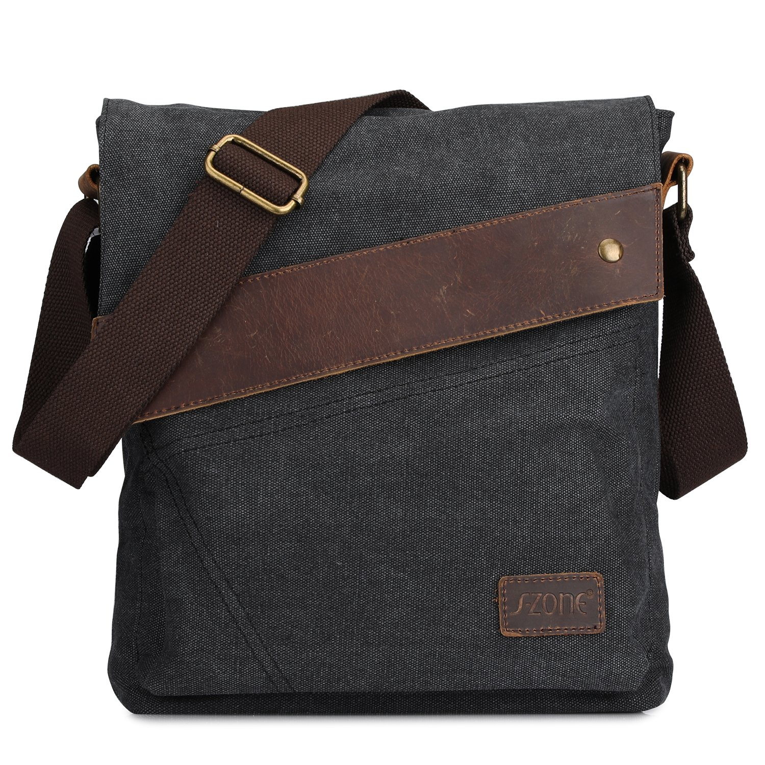 S-ZONE Vintage Lightweight Small Canvas Messenger Bag Travel Shoulder Crossbody Purse Dark (Gray) by S-ZONE (Image #1)