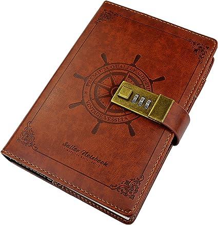 Vintage Notizbuch Leder Tagebuch Reisetagebuch 112 Seite Mit Code Schloss Braun