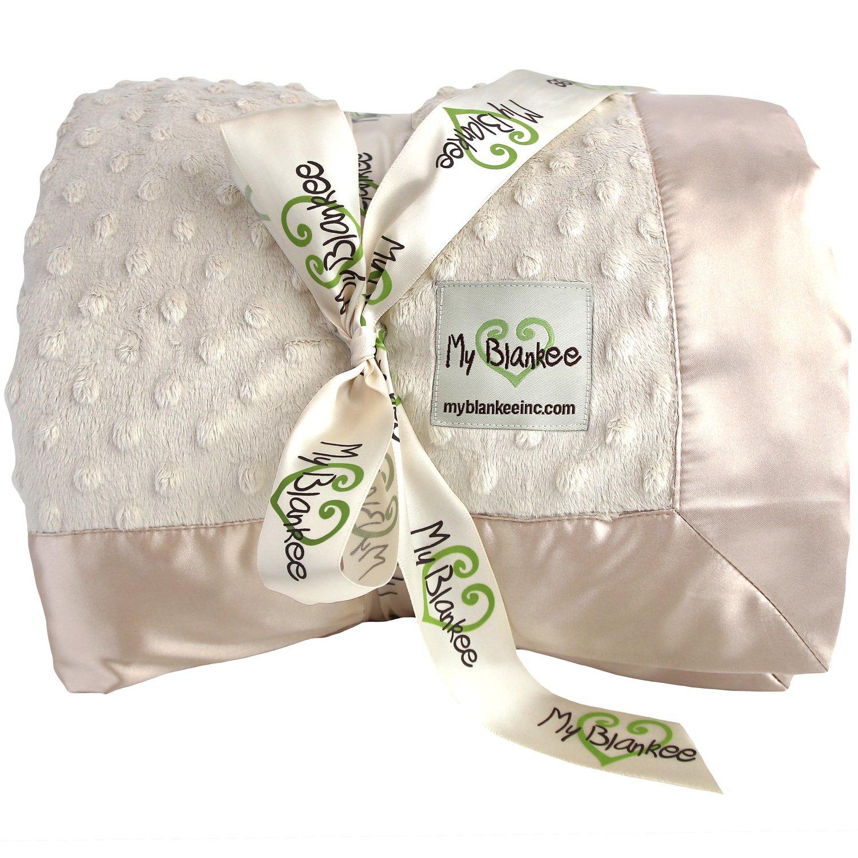 My Blankee Minky Dot Full/Queen Blanket with Flat Satin Border, Tan, 90'' X 90''
