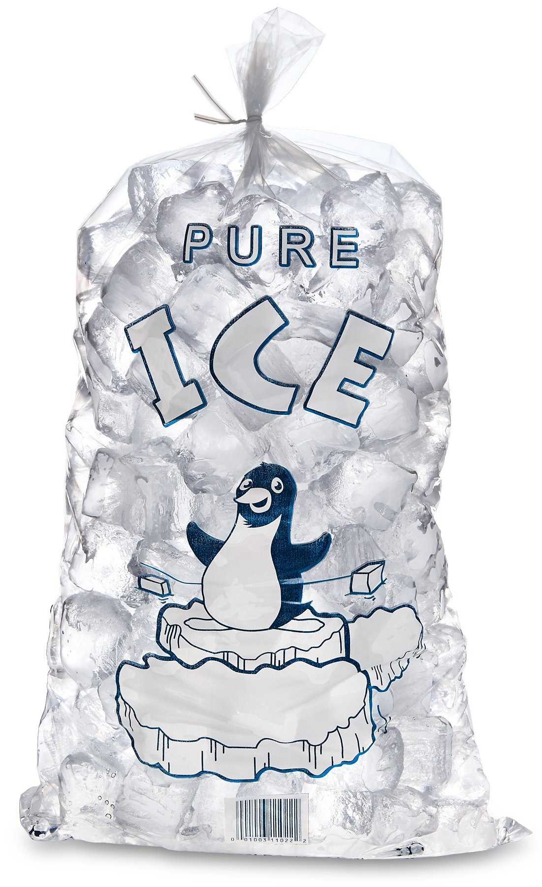 Plastic 10 Lb. Ice Bags - 12'' X 22'' 1.6 Mil Thick Bags, 100 Bags with Twist Ties