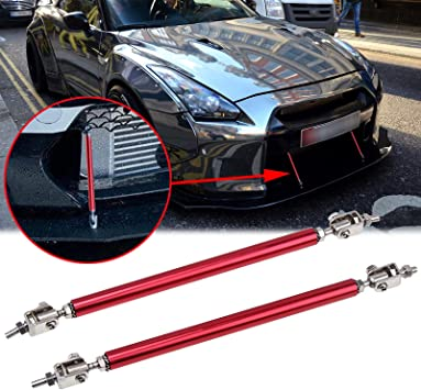 Silver 2pc Adjustable 8-11 Front Bumper Lip Splitter Diffuser Strut Rod Tie Bars Splitter Support Rods Fit Most Vehicles
