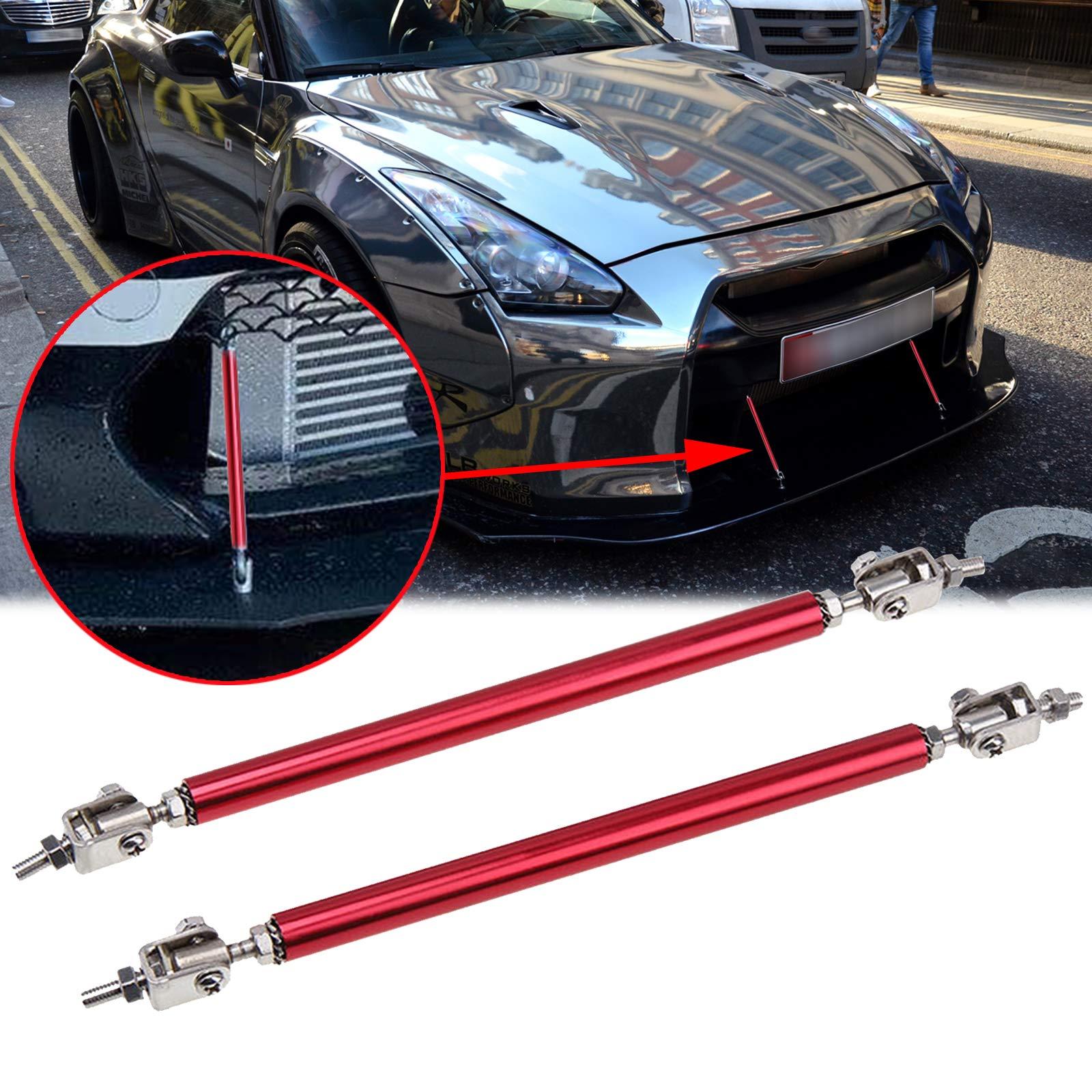 "2pc Adjustable 8""-11"" Front Bumper Lip Splitter Diffuser Strut Rod Tie Bars Splitter Support Rod Fit Most Vehicles[Red]"