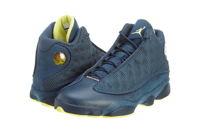 Nike Herren Air Jordan 13 Retro Turnschuhe, Schwarz  10|Squadron Blue, Electric Yellow-black