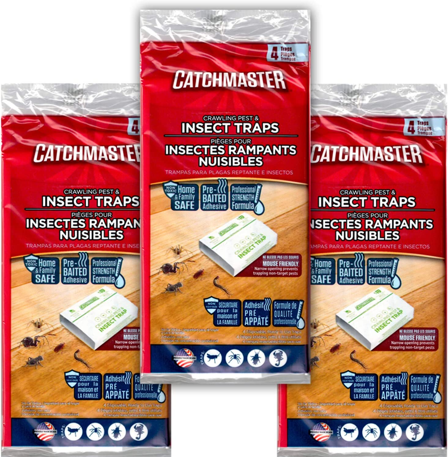 CatchMaster 724 Spider and Insect Glue Trap - 4 Professional Strength Traps per Package (3 Pack)