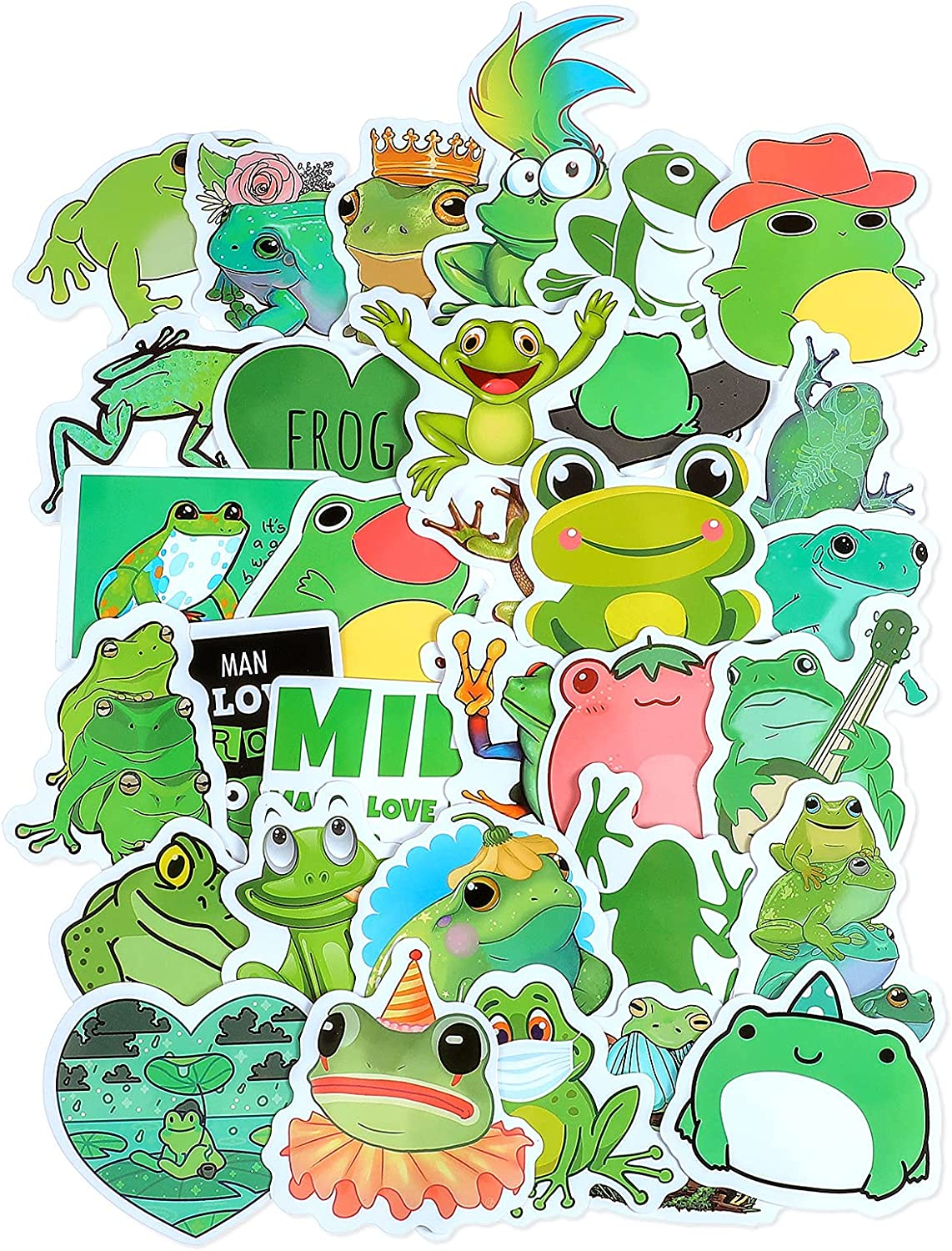100 Pieces Frog Stickers Cute Frog Decals Waterproof Vinyl Laptop Stickers Frog Theme Decorative Stickers for Computer, Luggage, Guitar, Bottle, Refrigerator
