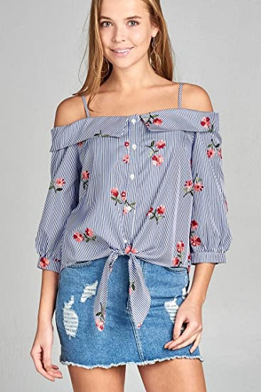 d80a49ad88c9ef Image Unavailable. Image not available for. Color: Diva Boutique  DivaBoutique Women's Boho Embroidered Floral Striped Shirt Blouse Top Blue  ...