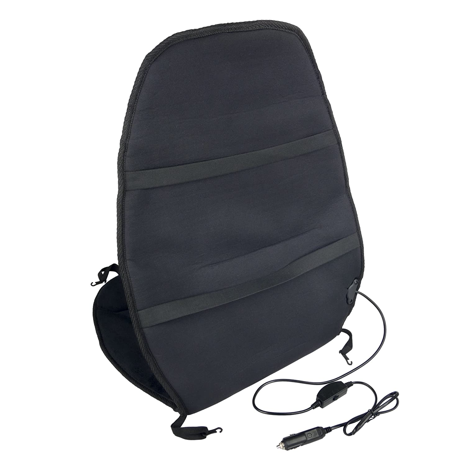 Black --IN9438 Wagan Soft Velour 12V Heated Seat Cushion Ultra Plush with High//Low//Off Temperature Control