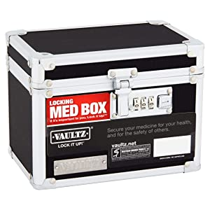 Vaultz Locking Medicine Box with Combination Lock, 5 x 7 x 5 Inches, Black (VZ00266)