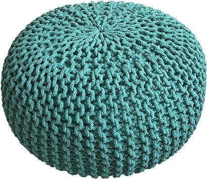 casamia Pouf Ø 55 cm Strickhocker Sitzpouf Sitzpuff Sitzhocker Grobstrick Optik Bodenkissen extrahoch Höhe 37 cm Farbe grün