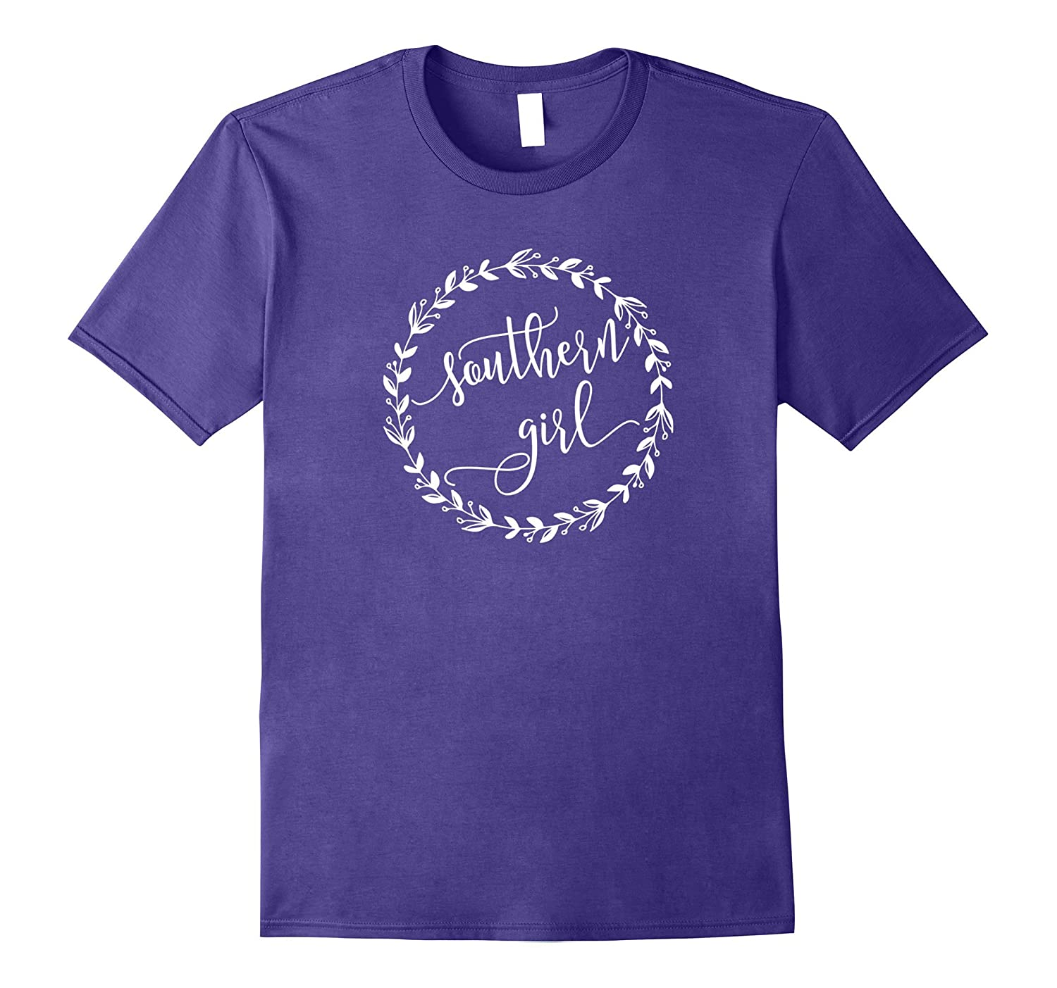 Southern Girl T Shirt with Wreath and Script Font-Vaci