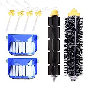 DLD Accessory for iRobot Roomba 600 610 620 630 645 650 655 660 680 500 Series Model 595 Replacement Kit Replenishment iRobot Parts Set Filter Side Brush Bristle Brush Flexible Beater Brush