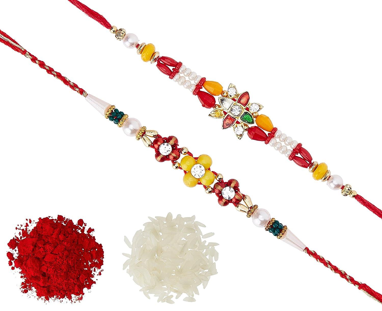 Flower Red Mango Beads & Pearl Rakhi with Roli Chawal Tilak for Men Boys