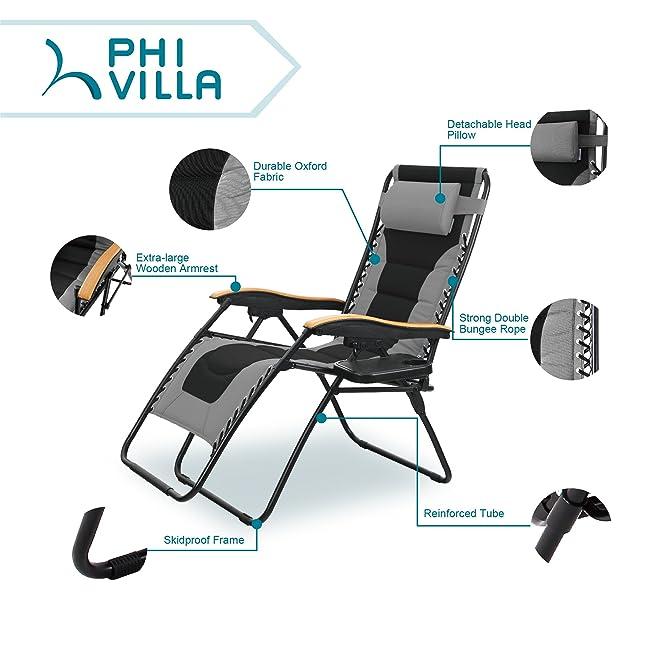 PHI VILLA Oversize XL Padded Zero Gravity Lounge Chair Review
