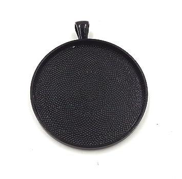 10 bandejas de deannassupplyshop círculo colgante – color negro – 38 mm – colgante Blanks Cameo