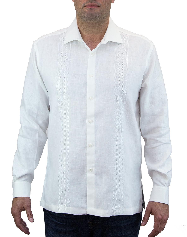 Jon Sonen Vine Pattern Embroidered Long Sleeve Guayabera at Amazon Mens Clothing store: