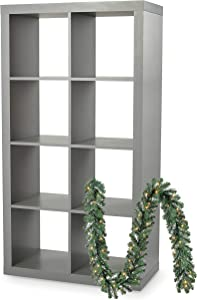 Better Homes and Gardens Modern Furniture 8-Cube Room Organizer with Napa Christmas Garland Bundle, Gray