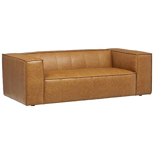Rivet Thomas Modern 81.5 Sofa, Leather, 81.5 W, Caramel