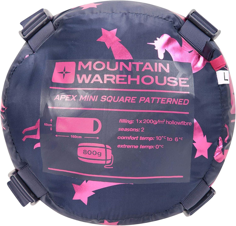 con Imbottitura di Fibra Cava per Dormire allaperto Mountain Warehouse Apex Mini Sacco a Pelo con Fantasia da Bambini per Campeggio Leggero
