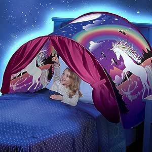Sunei.f Magical Dream Tents Tienda de Cama Pop-up Popular para niños Unicornio (con luz LED)