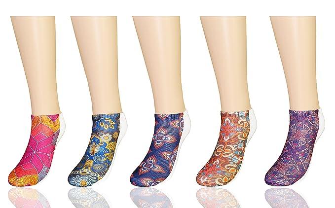 MYMYU Calcetines estampados en 3D Para Mujeres Novedad Halloween Funky Calcetines bajos lindos 5 pares (