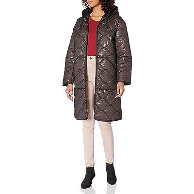 Avec Les Filles Women's Quilted Mid Length Nylon Coat: Clothing