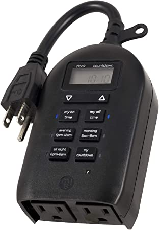 Timer Countdown 2 Outlet Black