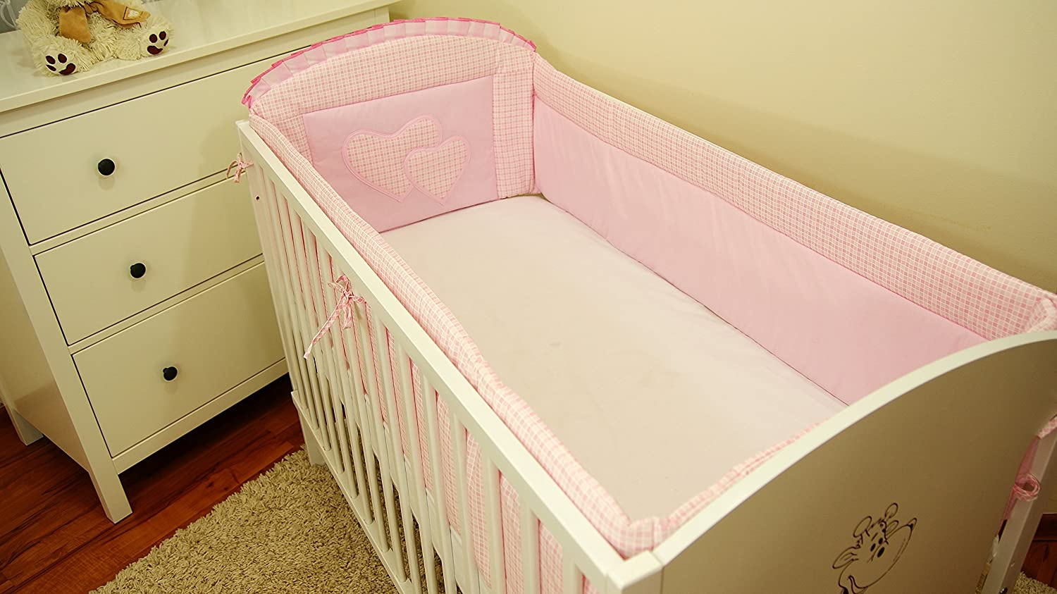 Cot bumper with Applique and Falbel Cot Bedding Cot Bumper with 420  cm Aluxshop
