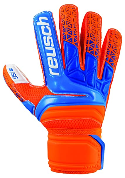75f47c39c Reusch Soccer Prisma SG Finger Support Goalkeeper Gloves Orange/Blue, 9