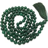 Green Jade Japa Mala 108 beads plus 1 larger guru bead, with real gemstones, for use in Meditation or as a Necklace